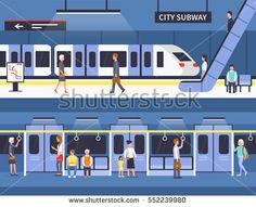 People in city subway. Passengers at subway station platform and inside underground train. Train Clipart, Train Vector, Running Training Plan, Weight Training For Beginners, Train Illustration, Work Out Routines Gym, Cardio At Home, Train Art, Training Motivation