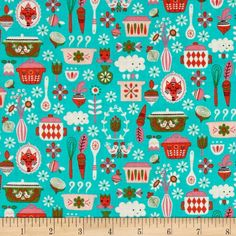 Riley Blake Kitchen Main Teal from @fabricdotcom  Designed by Andrea Muller for Riley Blake Designs, this cotton print fabric is perfect for quilting, apparel, and home decor accents. Colors include aqua, shades of pink, white, and olive green.