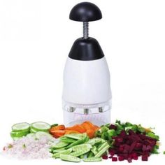 This Quick Chopper lets you quickly dice your favorite fresh fruits and vegetables by plunging down on the handle. The stainless steel blades will do the dicing