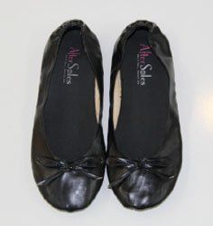 AfterSoles Rollable Ballerina Flats With Separate Shoe Bag, Medium (7-8.5), Black. After Soles Rollable Portable Ballet Flats for the Dance Floor Diva! Here's the deal, ladies. High heels are sexy and flattering. They boost your height AND your confidence, but our favorites tend to be either seriously strappy, perilously pointy, haphazardly high or a dangerous combination of the three. Sure, we might hate them after hours of award-worthy dancing (ifwedosaysoourselves), but chances are…