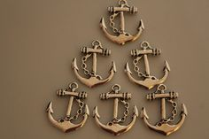 Anchor Connectors charms silver toned set of 6