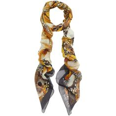 Alexander McQueen Golden Dragonfly and Skull Print Silk Scarf ($585) ❤ liked on Polyvore