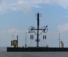 Semaphore line - Optical telegraph in the harbour of Bremerhaven, Germany.
