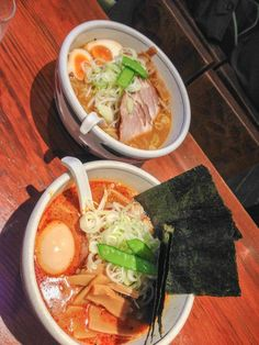 Spicy ramen noodle soup from a small local vendor in the Akasaka neighborhood - Tokyo, Japan.