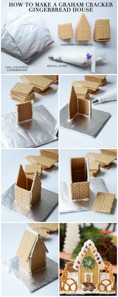 how to make a gingerbread house out of graham crackers Step by step instructions to cut and build a graham cracker gingerbread house, plus a royal icing recipe that keeps your house sturdy! Fun Christmas Party Ideas, Adult Christmas Party, Christmas Goodies, Christmas Treats, Holiday Fun, Holiday Crafts, Christmas Holidays, Ideas Party, Diy Party