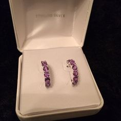 Sterling Silver Purple Diamond Hoop Earrings! Never Worn! New in box! Sterling Silver  Jewelry Earrings