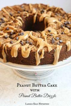 Easy Vegan and Gluten Free Peanut Butter Cake with Peanut Butter Drizzle | Lauren Kelly Nutrition #glutenfree #vegan #healthy: