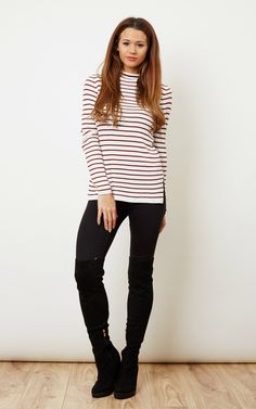 This cute little tee is great paired with an all dark outfit, adding a bit of colour and sophistication, stripes are always a good idea, have a try in red!