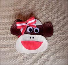 Sock Monkey Hair Clip by EmilyKatesBows on Etsy, $5.00