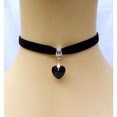 2 PCS Gothic Velvet Heart Crystal Choker Handmade Necklace Pendant Retro 80 90s New