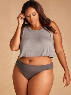 1df55d162b Plus Size Microfiber Bikini with Back Lace and Shirring | Hips & Curves Plus  Size Lingerie