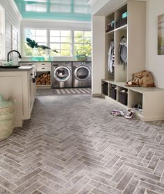 Laundry room - L shaped and pretty floors