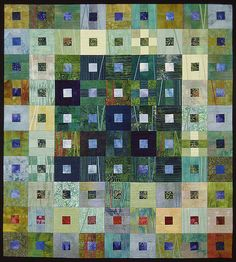 Terry Kramzar art quilt. such a versatile block, and so good with batiks and semi-solids!
