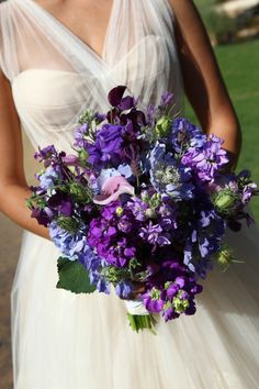 Blue and purple bouquet. Maybe a bit too fancy, but the colors are lovely.