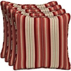 Better Homes and Gardens Outdoor Patio 18 inch Square Pillow with Welt, Set of Four, Red Stripe, Beige Patio Furniture Cushions, Patio Chairs, Garden Furniture, Modern Furniture, Outdoor Furniture Sets, Outdoor Living Areas, Better Homes And Gardens, Toss Pillows, Outdoor Fabric