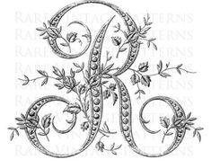 French Alphabet Stencil Large Letter R Monogram Initial Alphabet A, French Alphabet, Alphabet Stencils, Embroidery Monogram, Vintage Embroidery, Embroidery Patterns, Hand Embroidery, Sewing Patterns, Embroidery Fonts