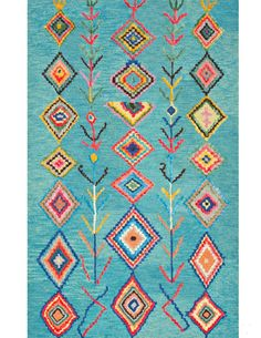 This hand-tufted wool area rug features a striking geometric pattern which lends itself to both Southwestern and/or Boho/Moroccan decorating. This soft a plu