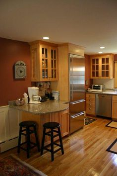 small kitchen with peninsula - Google Search - maybe sightly longer to fit two more stools?