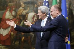 ALL TOGETHER NOW: U.S. Secretary of State John Kerry met Italian Prime Minister Enrico Letta on Wednesday in Rome. (Riccardo Antimiani/Eidon...