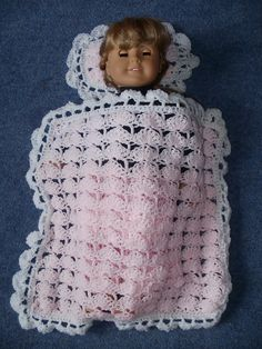 """Ravelry: Project Gallery for Blanket & Pillow for 18"""" Doll pattern by Pat Ford"""