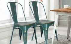 Amazon.com : Homebeez Metal Antique Dining Chairs with Back Industrial Chic in ANTIQUE GREEN (Set of 2) : Amazon Warehouse Deals