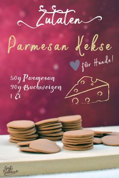 Recipe: Parmesan biscuits for dogs - DIY recipe: bake Parmesan cheese dog biscuits dog treats yourself – www. Food Dog, Cat Food, Dog Food Recipes, Drinks Alcohol Recipes, Cocktail Recipes, Dog Snacks, Dog Treats, Cheese Dog, Dog Biscuits
