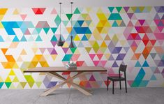 Wall Mural - Mid Century - Triangles - Repositionable Adhesive Fabric - Self-Adhesive Wall Covering - Peel And Stick - SKU: MidTriMur