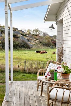 my scandinavian home: A Magical Little Swedish Summer Cottage (And It's For Sale! Small Porch Decorating, Decorating Ideas, Outdoor Spaces, Outdoor Decor, Outdoor Ideas, Cottage In The Woods, The Beautiful Country, Open Plan Living, Scandinavian Home