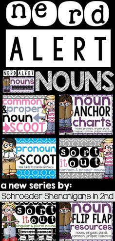 NERD ALERT NOUNS noun practice centers, sorts, and activities to practice NOUNS in 2nd grade including a FREEBIE anchor chart set for you to try