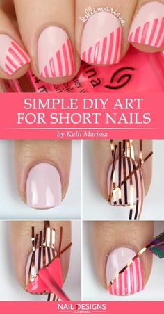 Checked out this list of easy and unique striped nails tutorials, which will hel. - - Checked out this list of easy and unique striped nails tutorials, which will help you discover the world of nail art from the different side! Tape Nail Art, Acrylic Nail Art, Nail Art Diy, Cool Nail Art, Diy Art, Nail Striping Tape, Nail Art Stripes, Striped Nails, Simple Nail Designs