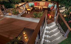 Ideas for our new sweet deck. So unique Trex Transcend railing and Trex Deck Lighting. Outside Living, Outdoor Living, Deck Lighting, Lighting Ideas, Lighting Concepts, Decks And Porches, Patio Design, Backyard Patio, Modern Backyard