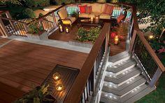 Planters; width of stairs; railings; Deck Design Ideas | Deck Pictures & Patio Designs | Trex