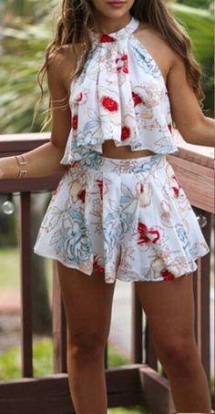 Conjunto Cropped e Short Estampado Floral - Compre Online