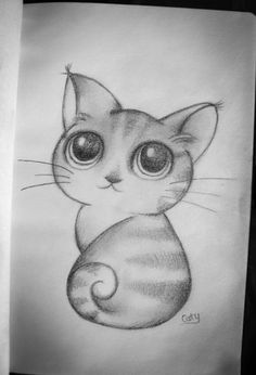 (notitle) - My creationss - Gatos Tumblr Drawings, Cool Art Drawings, Pencil Art Drawings, Art Drawings Sketches, Easy Drawings, Pencil Art Love, Kitten Drawing, Abstract Face Art, Art Du Croquis