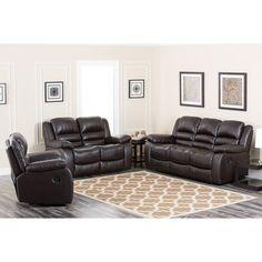 Abbyson Anderson Leather Reclining Sofa Set - CH-8801-BRN-3/2/1