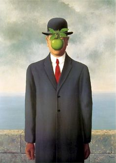 """The Son of Man"" is a 1964 painting by the Belgian surrealist painter René Magritte. (1898-1967) Magritte painted it as a self-portrait. The painting consists of a man in an overcoat and a bowler hatstanding in front of a low wall, beyond which is the sea and a cloudy sky. The man's face is largely obscured by a hovering green apple. However, the man's eyes can be seen peeking over the edge of the apple. (Wikipedia)"