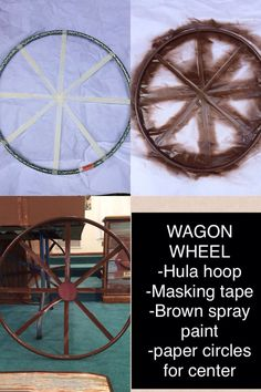 How to make your own wagon wheel using a hula hoop, masking tape, and spray paint.