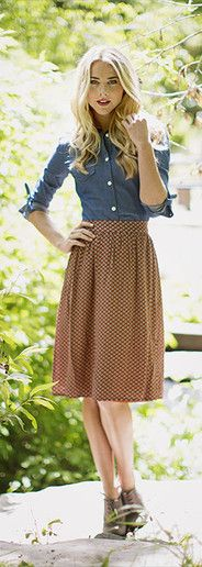 Church outfit- Great example of a blouse and skirt combination (option 2)! I really like the chambray shirt since it's different than just a traditional blouse, and this skirt is nice too. Also, the oxford shoes are a cute footwear option.