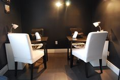 Inviting manicure room with space for you and a friend to receive your services together.