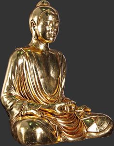 indoor or outdoor fiberglass statue of a sitting, meditative buddha painted in a gold finish Sitting Buddha, Fiberglass Resin, Buddha Sculpture, Freemasonry, Precious Metals, Meditation, Spirituality, San Francisco, Gold