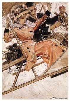J.C. Leyendecker - JC Leyendecker - Flying In Style (1909)
