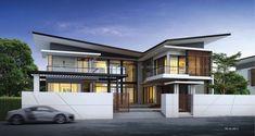 RE-H2-505.C แบบบ้านสองชั้น 4 ห้องนอน 5 ห้องน้ำ 327 ตร.ม. Modern Style หลังคาปีกผีเสื้อ, แบบบ้านหลังคาทรงปีกผีเสื้อ