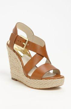 MICHAEL KORS Giovanna Wedge Sandal Luggage $129