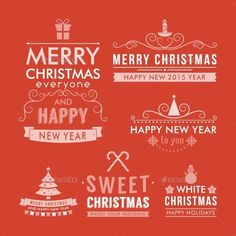 Christmas decoration set of design elements, labels, symbols, icons, objects and holidays wishes