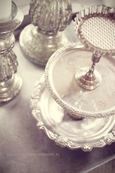 Diy for all those random silver plates, with silver candlesticks.. works for me!!