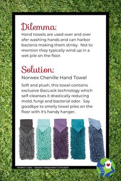 Get rid of stinky towels that sit in a damp, smelly lump on the floor. Try the soft, lush Norwex Chenille Hand Towel next time you dry your hands. For the kitchen and the bathroom. Norwex Cleaning, Direct Sales Tips, Chemical Free Cleaning, Hand Towels, Clean House, Cool Kitchens, Lush, Rid, Saving Money