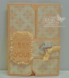 Envelope Punch Board Gate fold file folder card. Includes tutorial by Debbie Henderson, Debbie's Designs.