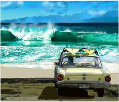 Sandy Beach, Oahu ~ by Eizin Suzuki  surf art, #surfart surfboards