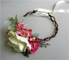 Roselle Flower Crown - Ivory, pink, and green flowers including rose, hydrangea, and dusty miller, on an adjustable grapevine crown, bridal crown, head wreath, hair garland, #bohochic, #PosiesPearls