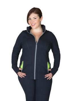 Plus Size activewear! Fantastic styling. 100% functional! Made for a lady with curves    The Lola Jacket - Getts you where you want to go! Contour stitching provides the perfect feminine shape and coverage for all body types. Thumb-holes keep sleeves down and make layering easy. Moisture wicking Getts Dry fabric keeps you dry no matter what a